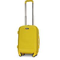 Пластиковый мини чемодан на 4-х съемных колесах Fly желтый