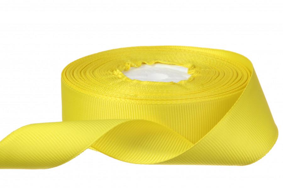 Репс однотонный на метраж. Цвет ярко желтый.  Ширина 2.5 см бобина - 18 м