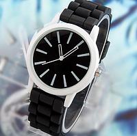 Женские часы GENEVA Женева с черным циферблатом, силиконовый браслет (черные), женские ручные часы