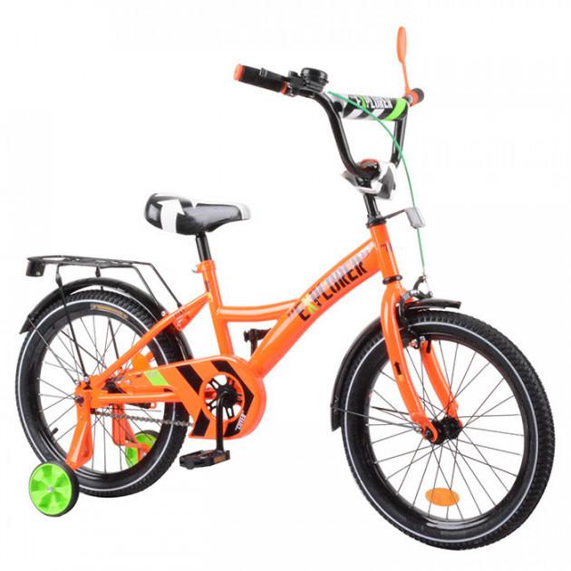 """Двухколесный велосипед 18"""" дюймов EXPLORER T-218110 с приставными колесами, багажником, звонком, оранжевый"""