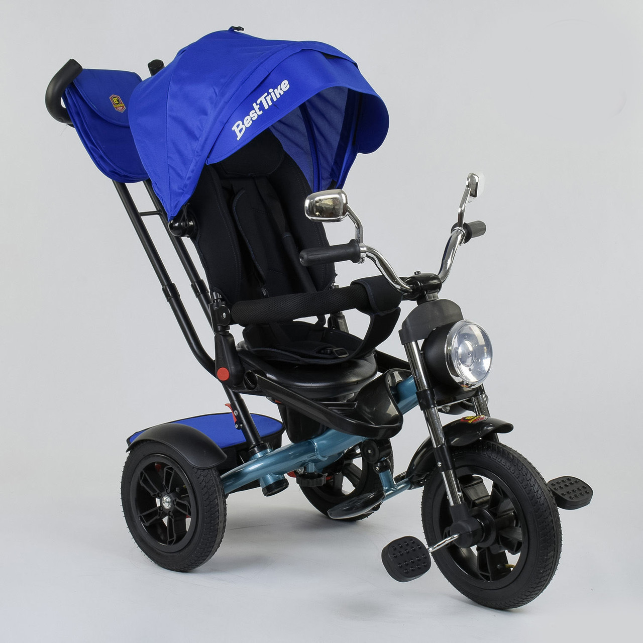 Детский велосипед трехколесный с родительской ручкой и поворотным сиденьем Best Trike 4490 - 2761, синий