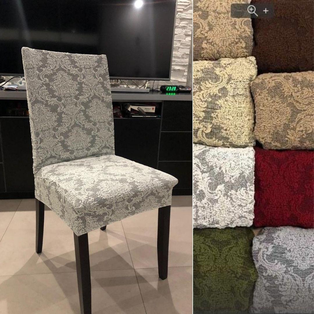 Жаккардовые чехлы на стулья натяжные турецкие стрейч, чехлы на стулья со спинкой без юбки Серый