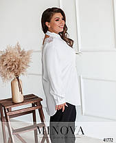 Белая женская рубашка с кружевом, большого размера  от  50 до 60, фото 2
