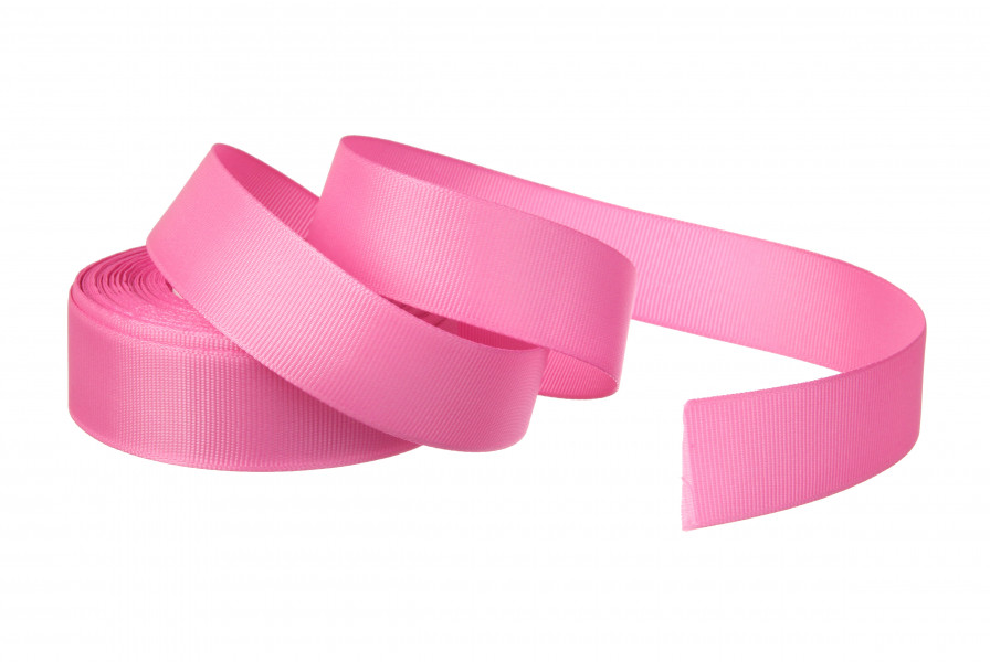 Репс однотонный бабина. Цвет ярко розовый.  Ширина 2.5 см