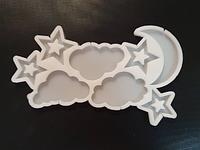 2D Форма силиконовая тучки звезды месяц молд для изомальта леденцов шоколада