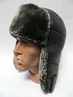 Шапка ушанка мужская темно-серый мех