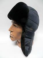 Шапка ушанка мужская черный мех