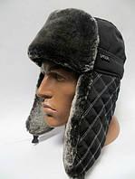 Тёплая шапка ушанка мужская - серый мех