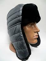 Модная мужская шапка ушанка серый окрас