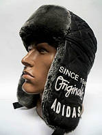 Шапка ушанка мужская adidas серый мех