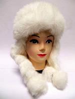 Белая шапка ушанка женская
