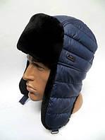 Модная мужская шапка ушанка прошитая