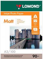 Lomond A3 (100л) 90г/м2 матовая фотобумага белая для струйной печати и принтера