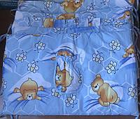 Защита - бортики на детскую кроватку из 4-х частей, Мишки и соты с пчёлками