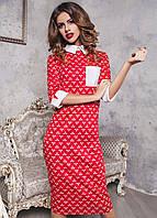 Платье красное с белым воротничком и манжетами