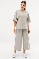 GLEM Костюм женский серый с футболкой и штанами-кюлотами Джей, фото 1