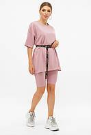 Лиловый женский костюм для прогулок с футболкой и шортами Хизер, фото 1