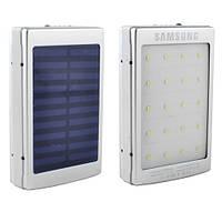 Power Bank Samsung 10000mAh 2USB(1A+2A) з сонячною батареєю, індикатор заряду, ліхтарик 20SMD, ультрафіолет, фото 1