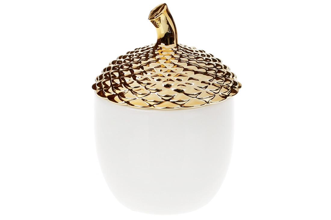 Банка фарфоровая Желудь 300мл, цвет - белый с золотом (727-150)