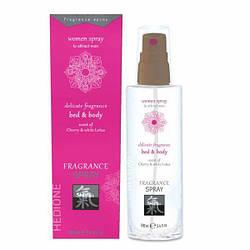 Спрей для тела и постели с феромонами и афродизиаками HOT Fragrance Вишня и белый лотос, 100 мл