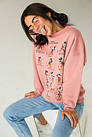 Теплый свитшот с принтом Микки LUREX - пудра цвет, M (есть размеры), фото 1
