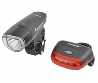 Велофонари комплект Tiross TS-637 black LED 1W + 5 LED AAA