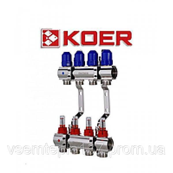 """Коллекторный блок с клапанами Koer KR.1100-04 1""""x4 WAYS"""