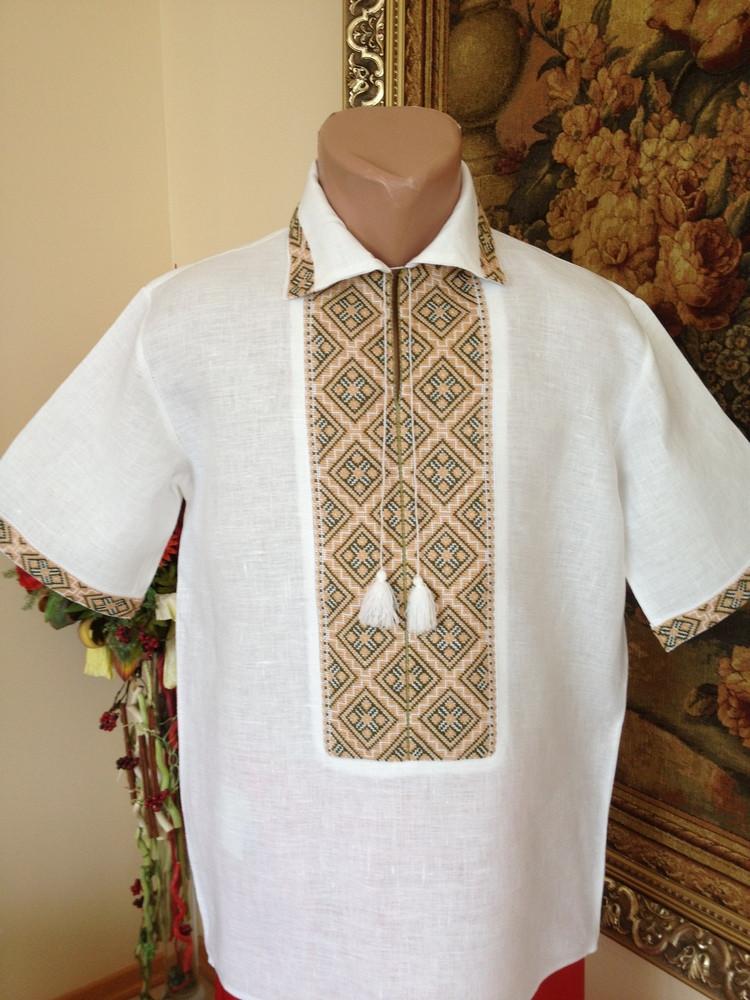 Літня вишита чоловіча сорочка з комірцем (домоткане полотно ... c57b887516a50
