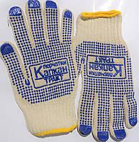 """Перчатки для строительства с ПВХ-точкой, вязаные, """"Капкан"""", Китай, упаковка — 12 пар"""