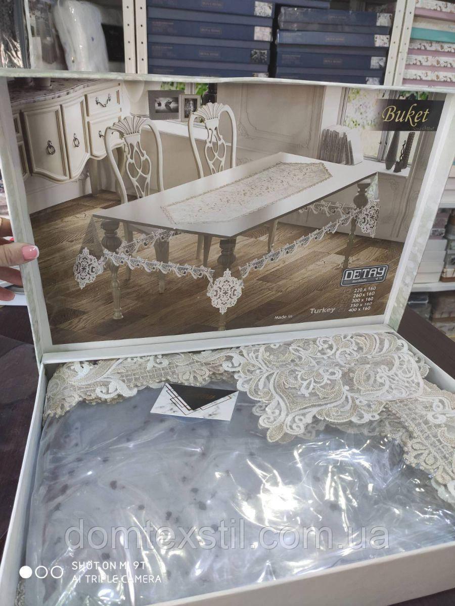 Скатерть жидкое стекло с кружевом на стол 160*220