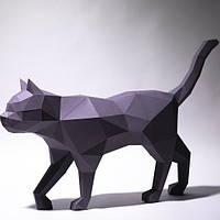 Полігональна скульптура Кіт у русі 3D з картону