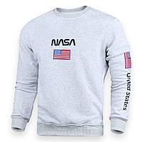 Свитшот мужской бел меланж NASA №5 патч, рис на рукавах WTGRI L(Р) 20-522-001-003
