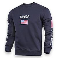 Свитшот мужской т синий NASA №5 патч, рис на рукавах DBLU S(Р) 20-522-001-003
