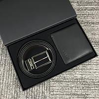 Мужской кожаный ремень (двухсторонний) + кошелек Guess. Мужской подарочный набор Guess.