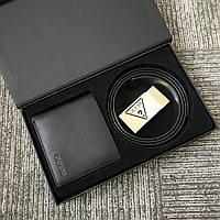 Ремень мужской кожаный (двухсторонний) + кошелек Guess. Мужской подарочный набор Guess.