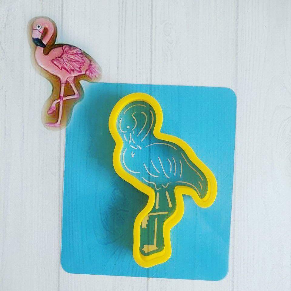 Трафарет + формочка-вырубка для пряника Фламинго
