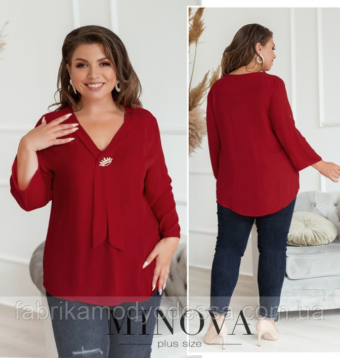 Яркая и стильная рубашка батал с рукавами цвет бордовый Размеры: 50-52