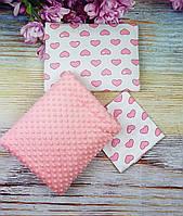 Комплект для новорожденных в коляску 3 предмета: Одеяло, Подушка, Простынка Сердечки/ Минки розовый