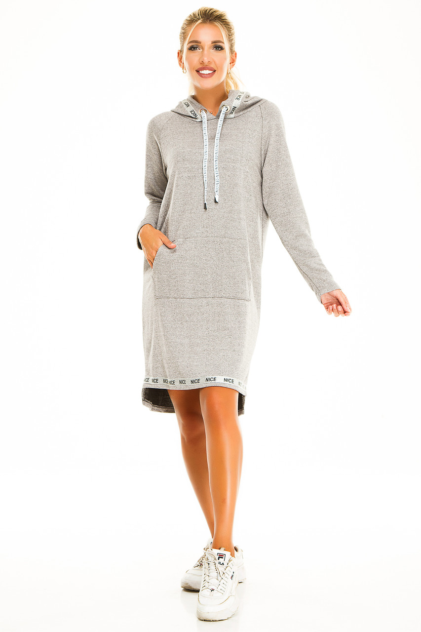 Платье с капюшоном 723 меланж размер 42-44