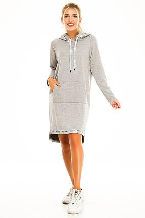Платье с капюшоном 723 меланж размер 42-44, фото 2