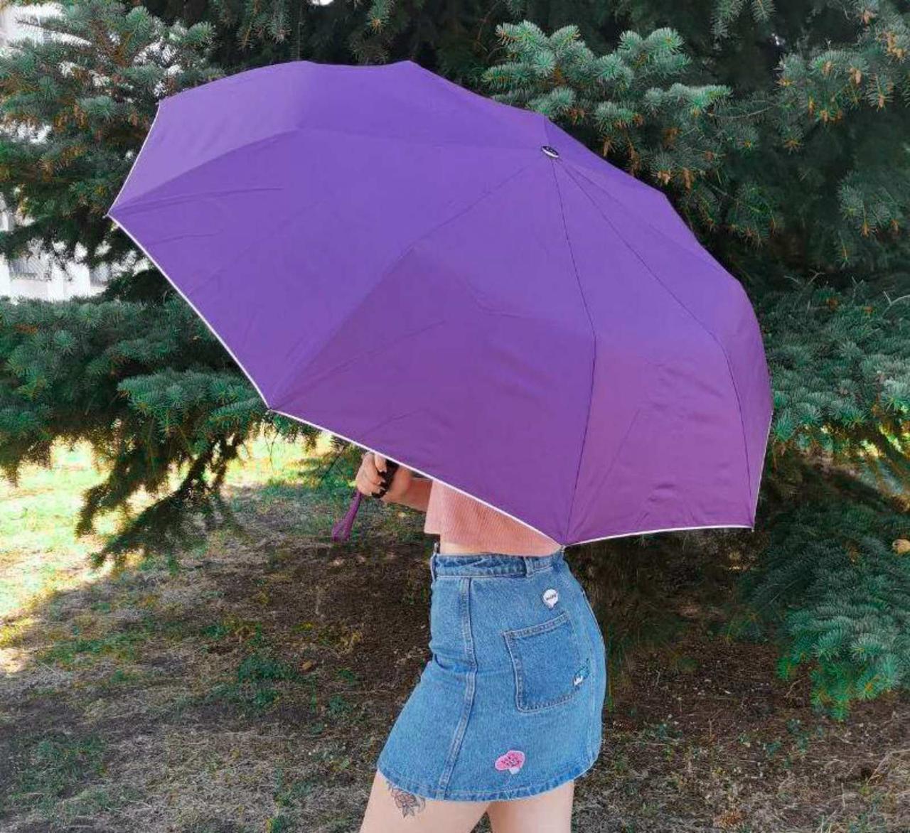 Зонт женский полуавтомат с куполом 99 см Max фиолетовый с принтом изнутри. Анти-ветер, 9 спиц.