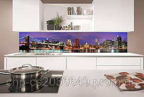 Стеклянный фартук для кухни - скинали Ночной Нью-Йорк Бруклинский мост