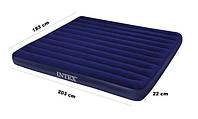 Матрац надувний велюровий 68755 Intex 183-203-22см, флокірована поверхню, колір синій Т