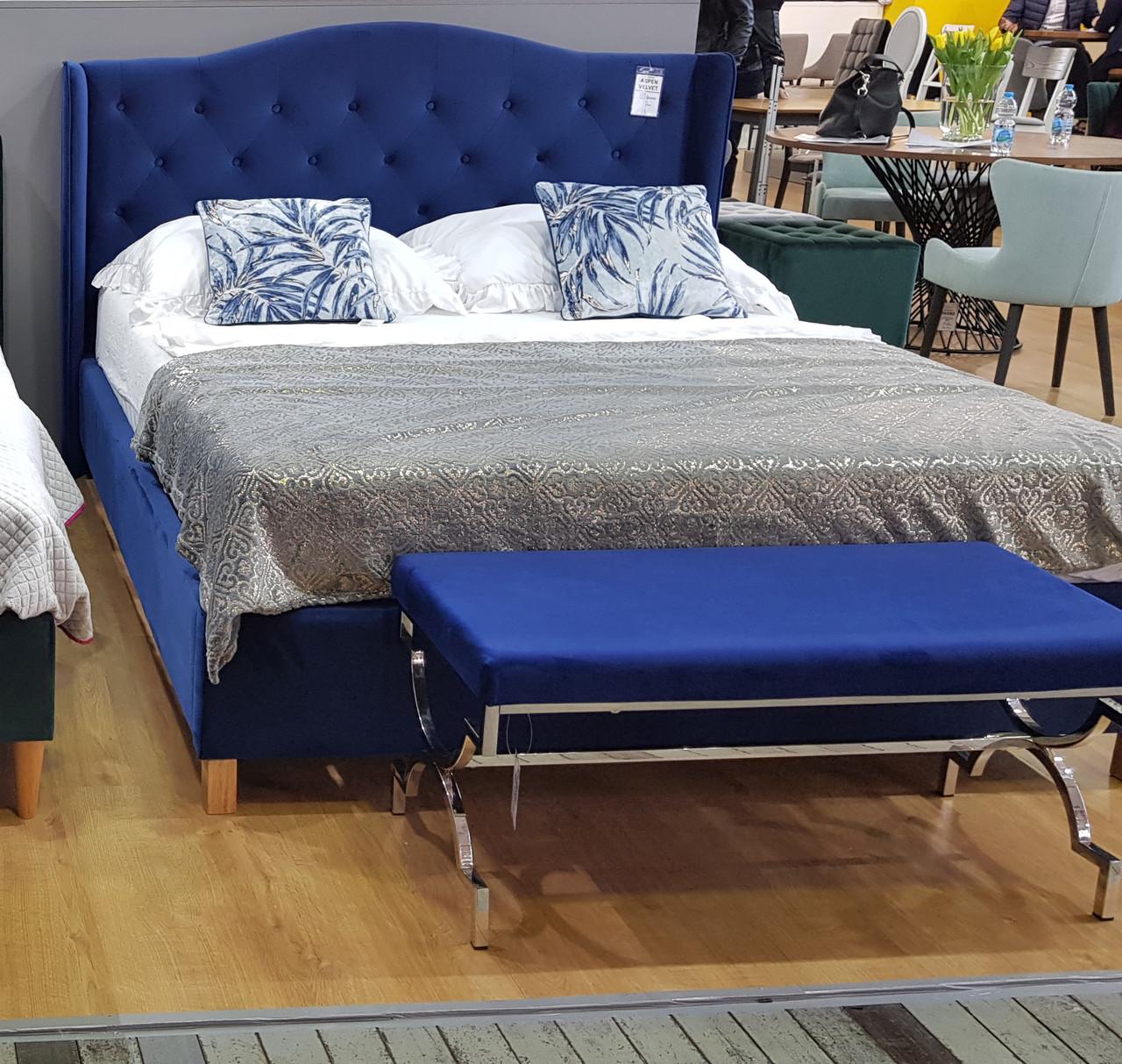 Двуспальная кровать Signal Aspen Velvet 160X200 Синий (ASPENV160GRD)
