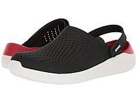 Мужские кроксы Crocs LiteRide White and black. Летние сабо, сандалии красно-черные. , фото 1
