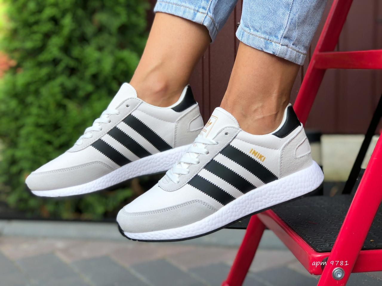 Женские (подростковые) кроссовки Adidas Iniki,белые с черным