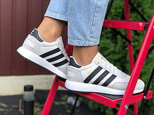 Женские (подростковые) кроссовки Adidas Iniki,белые с черным, фото 2