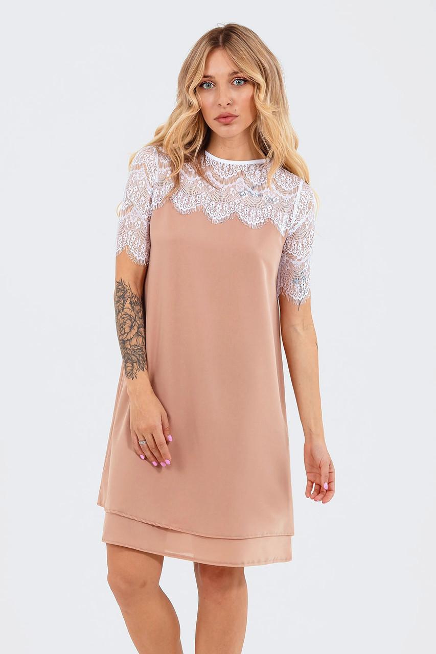 Жіноче коктейльне шифонове плаття Alexis, бежеве подвійне з шифону