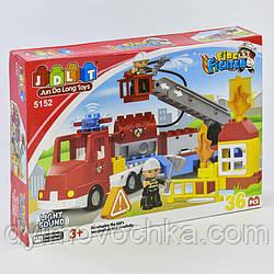 Конструктор JDLT 5152 Пожарная машина, 36 деталей, 2 фигурки, свет, звук