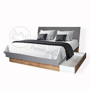 Ліжко Лінц 180 * 200 з шухлядами Сірий Шифер-Дуб Вотан ТМ МироМарк